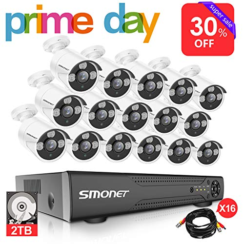 【More Stable】16 Channel Video Surveillance System SMONET 5-in-1 DVR Security Camera System(2TB Hard Drive), 16pcs 1080P High Definition Outdoor Security Cameras,DVR Kits with Night Vision,Remote View