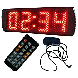 AZOOU Large 5-inch 4 Digits LED Race Timing Clock Countdwon or Up Timer 12/24 Hours Minutes Clock with IR Remote Control Red Color