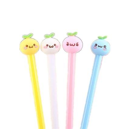 6pcs Cute Kawaii Jelly Bear Black Gel Ink Roller Ball Point Pen School Kids Pens