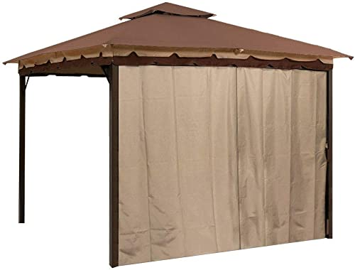 Sunjoy Gazebo Privacy Panel Side Wall fits 10 and 12 Gazebos Brown Four Pack