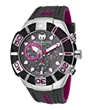 Technomarine Tm-515017 Men's Black Reef Chrono Dark Grey And Fuchsia Silicone Dark Grey Dial Watch