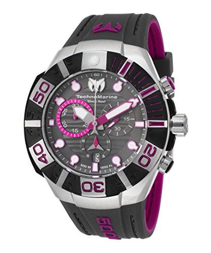 (Technomarine Tm-515017 Men's Black Reef Chrono Dark Grey And Fuchsia Silicone Dark Grey Dial Watch)