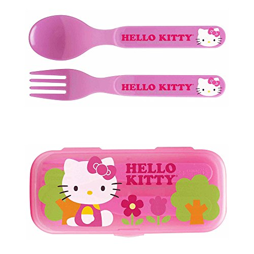 Zak! Hello Kitty Flatware Set for Kids Toddlers Girls (3 Pc: Spoon, Fork, Travel Case)