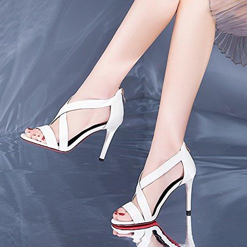 Moda toe Sandals blanco heels Transpirable Sandalias delgado high 9cm 34 zapatos elegante Rocío AJUNR labios mujer pescado 39 cinturón de g4wxfx
