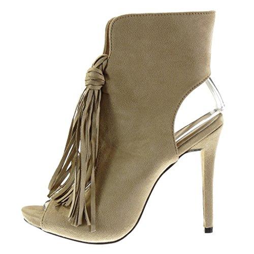 Angkorly - damen Schuhe Stiefeletten - Stiletto - Peep-Toe - Sexy - Fransen - Bommel Stiletto high heel 12.5 CM - Beige