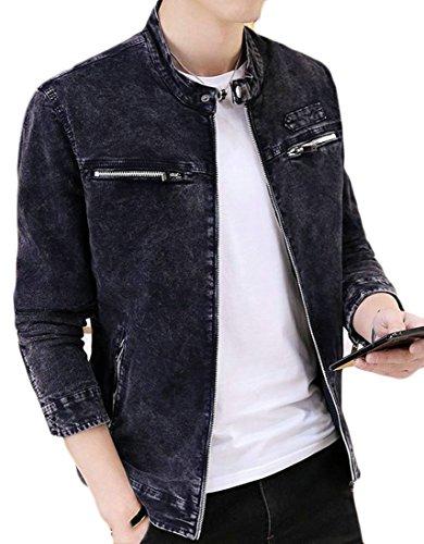 Pandapang Mens Zipper Cotton Stand Collar Autumn Casual Windbreaker Coat Casual Jacket 3 M
