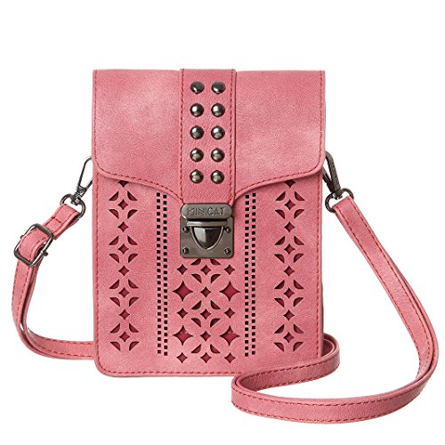 thicker Blocking Women Crossbody Wallet With Slots Purse Bags Minicat Texture Credit Cell Small Phone rfid Pink Hollow Card CwfAwxTnqZ