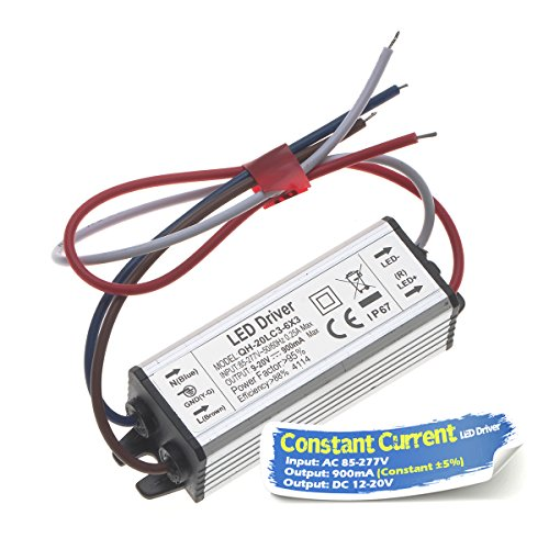 Chanzon LED Driver 900mA (Constant Current Output) 12V-20V (Input 85-277V AC-DC) (4-6) x3 12W 15W 18W 20W IP67 Waterproof Power Supply 900 mA Lighting Transformer for High Power COB Chips (Aluminium)