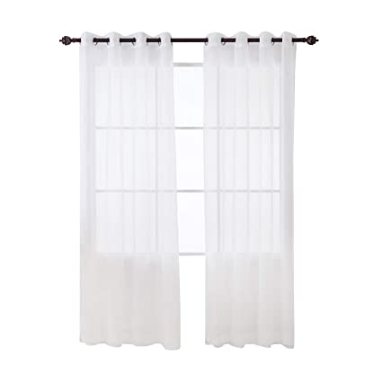 Deconovo White Sheer Curtains 84 Inch Length Grommet Voile Drape Curtains For Living Room 2 Panels 52x84 Inch