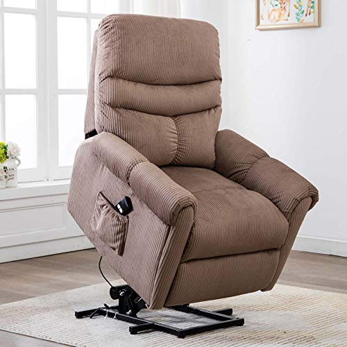 CANMOV Power Lift Recliner Chair for Elderly- Heavy Duty and Safety Motion Reclining Mechanism-Antiskid Fabric Sofa Living Room Chair with Overstuffed Design, Camel 01