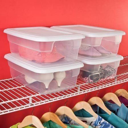 Sterilite 12 Quart See- Through Base Plastic Storage Box with White Lid, Pack of 15 by STERILITE