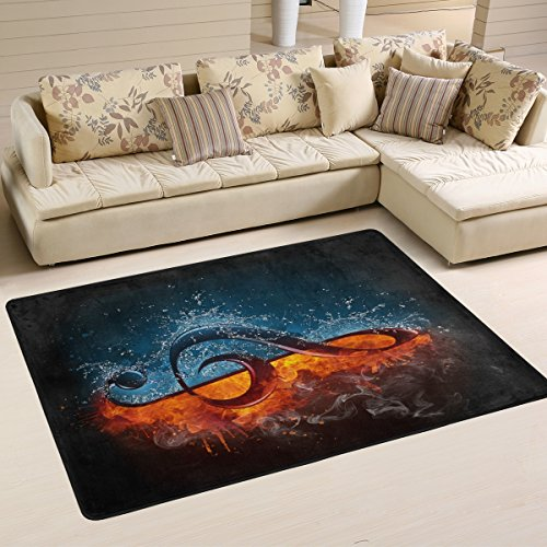 Abstract Cool Music Note between Fire and Water Area Rug Pad Non-Slip Kitchen Floor Mat for Living Room Bedroom 5' x 7' Doormats Home Decor