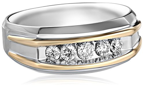 Men's 10k Two-Tone Gold Polished Finish Diamond Ring (1/2 cttw, H-I Color, I1-I2 Clarity), Size 11 - 2 Tone Diamond Mens Rings