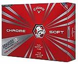Callaway Chrome Soft 2016 Truvis Golf Balls, White/Red