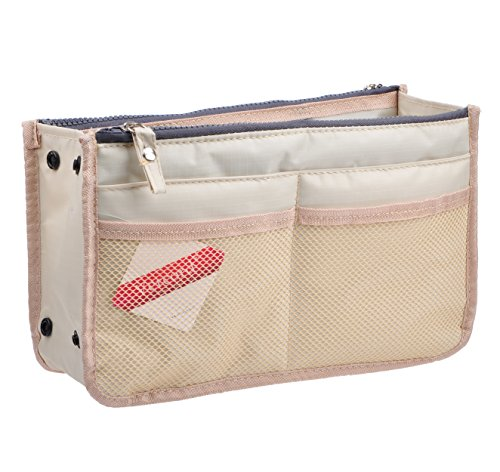 Placemat Purse - Vercord Updated Purse Handbag Organizer Insert Liner Bag in Bag 13 Pockets Milky Beige Small
