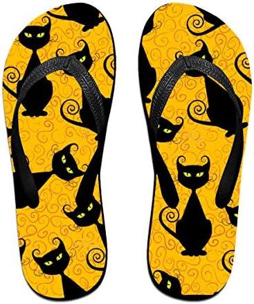 ビーチシューズ ハロウィーンの黒猫 ねこ ビーチサンダル 島ぞうり 夏 サンダル ベランダ 痛くない 滑り止め カジュアル シンプル おしゃれ 柔らかい 軽量 人気 室内履き アウトドア 海 プール リゾート ユニセックス