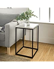 WE Furniture AZF16LWSTWM Modern Transitional Open Square End Accent Table Living Room, 16 Inch, White Marble