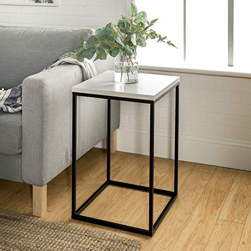Walker Edison Furniture Company Modern Open Square Wood Side Accent Living Room Small End Table, 16 Inch, White Marble