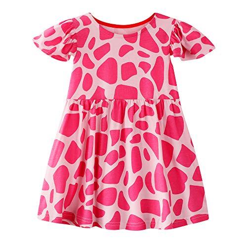 BIBNice Little Girls Cartoon Dress Print Short Sleeve Dresses Cotton Nightdress 4T Red-Pink