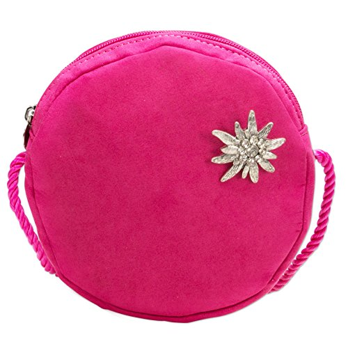 Alpenflüstern Trachten-Rundtasche Strass-Edelweiss Pin DTA06800025 Damen Umhängetaschen 16x16x2 cm, Pink