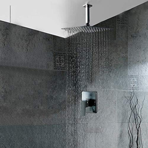 HSDMHH Shower 8 10 12 16 inch Shower Head Bathroom Ceiling rain Shower Concealed Ceiling Mount with Ceiling arm Sets,1,8 inch Shower Head