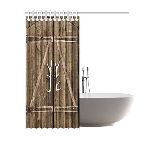 InterestPrint Wooden Garage Barn Door Shower Curtain, Vintage Rustic Country Wooden Gate with Antler Handles Decor Fabric Bathroom Set with Hooks, 60 X 72 Inches Long, Brown