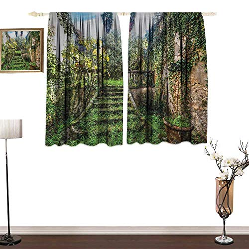 (guohua Nature Comfortable Space curtainAncient Fairytale Theme Hidden Garden with Botanic Trees Flowers Ivy Image Print2 Panels Drapes for Living Room Bedroom Set W55 x L72 Multicolor)
