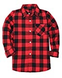 Boys Long Sleeves Button Down Plaid Flannel Shirt Tops, Red Black, Age 3T-4T (3-4 Years) = Tag 110