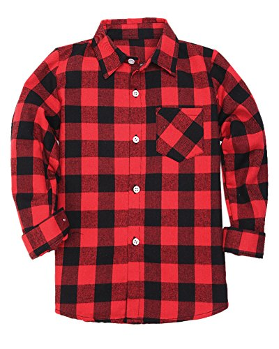 Boys Long Sleeves Button Down Plaid Flannel Shirt Tops, Red Black, Age 9T-10T (9-10 Years) = Tag 160