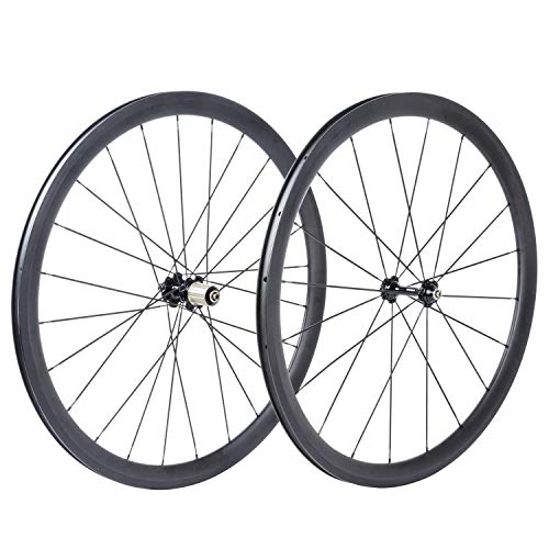 bikewish Bicycle Road Racing Wheels 700c Carbon Clincher Wheelset with 38mm UD Matte ()
