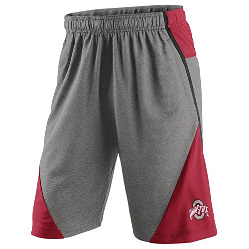 Nike Men's Fly XL 4.0 Shorts Heathered Gray/Red Ohio State Buckeyes Size L