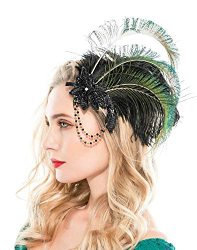 Zivyes 1920s Peacock Headpiece Feather Costume Hair Clip Flapper Headpiece Hat Accessory (A2)]()
