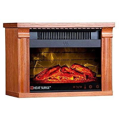 Heat Surge Mini Glo Portable Electric Fireplace Heater, Remote Control