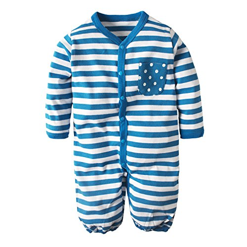 YIJIUJIU Unisex Baby Clothes Stripe Printed Pure Cotton Rompers Sleeping Bag For 3-18 Months's Boys Girls Blue (80 S Outfit)