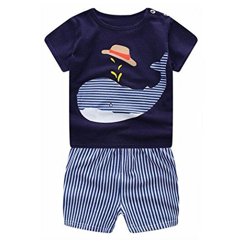 Conjunto Bebé Verano ❤ Amlaiworld Recién Nacido Infantil Bebé Niño Niña  Dibujos Animados Tops Camisas Camiseta Chaleco y Pantalones Cortos Conjuntos  de ... 38407eec8c25