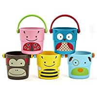 Skip Hop Zoo Bath Stack and Pour Bucket Rinse Cups, Multi