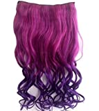 CJESLNA Fashion Sexy Two Tone Long Curl/curly/wavy Clip in Hair Extensions Pieces Wig Girls, Shade Hot Pink to Dark Purple