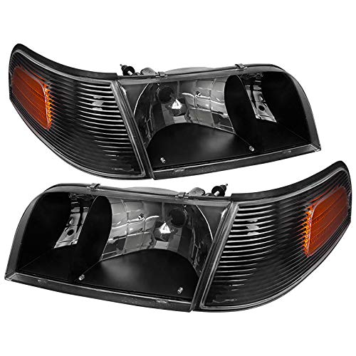 Carpartsinnovate For 98-11 Ford Crown Victoria Black Headlights+Corner Turn Signal Lamps Left+Right ()