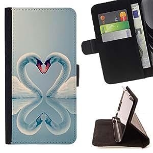 - swan love valentines heart birds aww - - Prima caja de la PU billetera de cuero con ranuras para tarjetas, efectivo desmontable correa para l Funny HouseFOR LG OPTIMUS L90