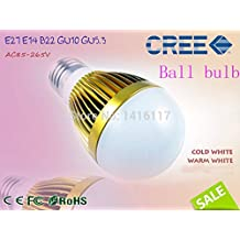 HOT 9W 12W 15W CREE Chip LED E27 E14 B22 GU10 GU5.3 High brightness Globe Bulb 85-265V 110V 220V LED ball Bulb Lamp Dimmable(White/5w)