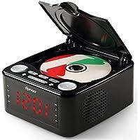 DPNAO CD Player with USB FM Radio Clock Dual Alarm Remote Headphone Home Audio System (Black)