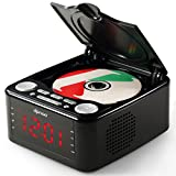 dpnao CD Player FM Radio Clock Dual Alarm USB Remote Headphone Home Audio System (Black)