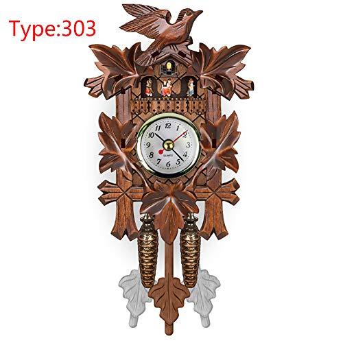 BEYST Mini Cuckoo Wall Clock,Artistic Cuckoo Bird Wooden Pendulum Hanging Wall Clock for Living Room Study Room Cafe Restauran and More,Home Decoration(303) - Elk Cuckoo Clock