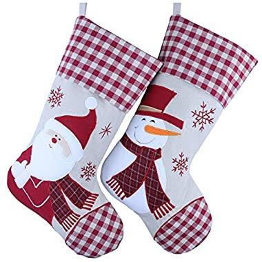 Wewill Classic Christmas Stockings Set of 2 Santa, Snowman Xmas Character 17 inch (Style 2)