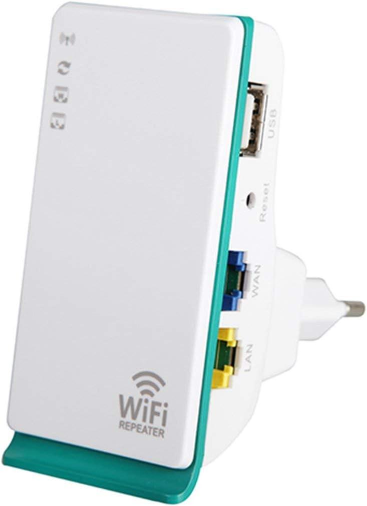 Heaviesk Router inalámbrico 300Mbps 2.4 GHz WiFi Repeater 2 Puertos Wireless-N Router Amplificador de señal Amplificador de Bolsillo Mini Amplificador