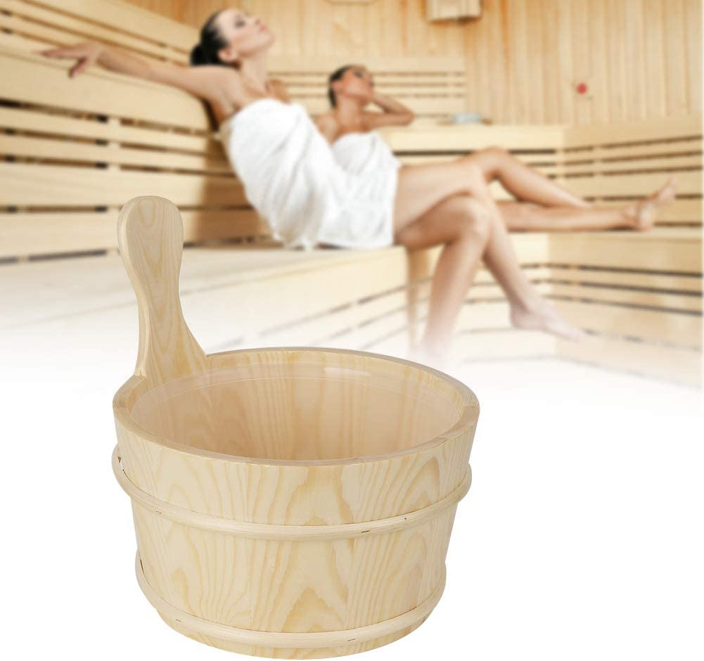 Jeffergarden Ba/ño Cubo de Barril de Sauna Natural con Forro Interior Suministros Accesorios para Sala de Sauna