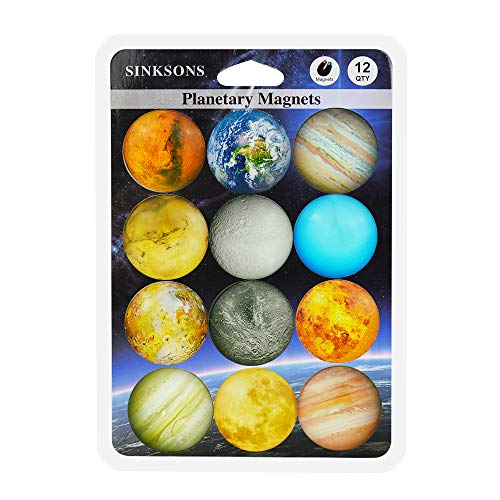 SINKSONS Planetary Pattern Refrigerator Magnets - 12 Pack Fridge Magnets, 1.35 Inches Diameter, Best Housewarming Home Decorations Gift.