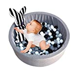 Gereton Kids Play Ball Pool Pit Soft Baby Kids Toddler Play Round Ball Pool Pit Toys 35*13'', Dark Grey