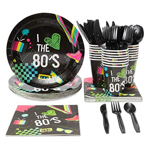 Blue Panda Neon 80s Retro Party Supplies (Serves 24) Knives, Spoons, Forks, Paper Plates, Napkins, Cups