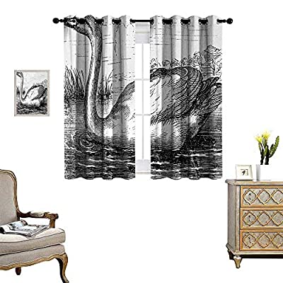 Anyangeight Sketch Room Darkening Wide Curtains Hand Drawn Swan on a Lake in The Forest Vintage Design Antique Illustration Customized Curtains W55 x L39 Black and White